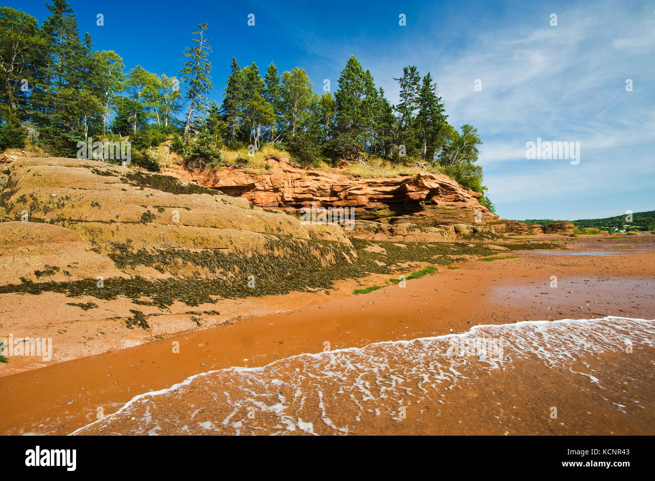outgoing tide/sandstone shoreline, near Lower Economy in the Minas Basin, Bay of Fundy, Nova Scotia - Stock Image