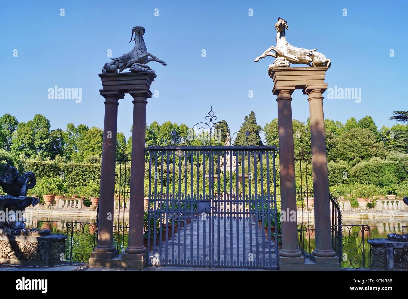 Gate with capricorns and harpys in Island Fountain Boboli Gardens Florence Tuscany Italy. Stock Photo