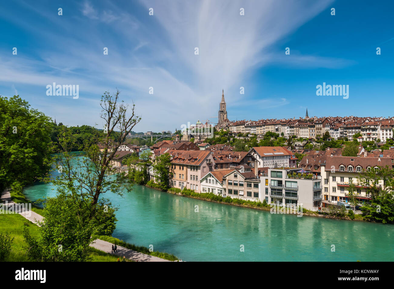 Bern, Switzerland - May 26, 2016: Panoramic view on the magnificent old town of Bern, capital of Switzerland. Stock Photo