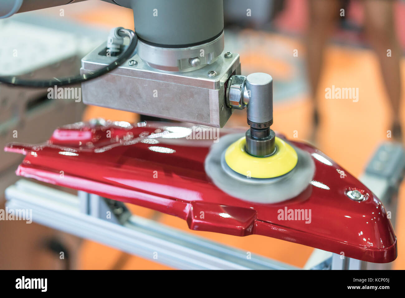 Automatic color polishing machine in auto part making line, production, factory, qc, automation, system and safety - Stock Image