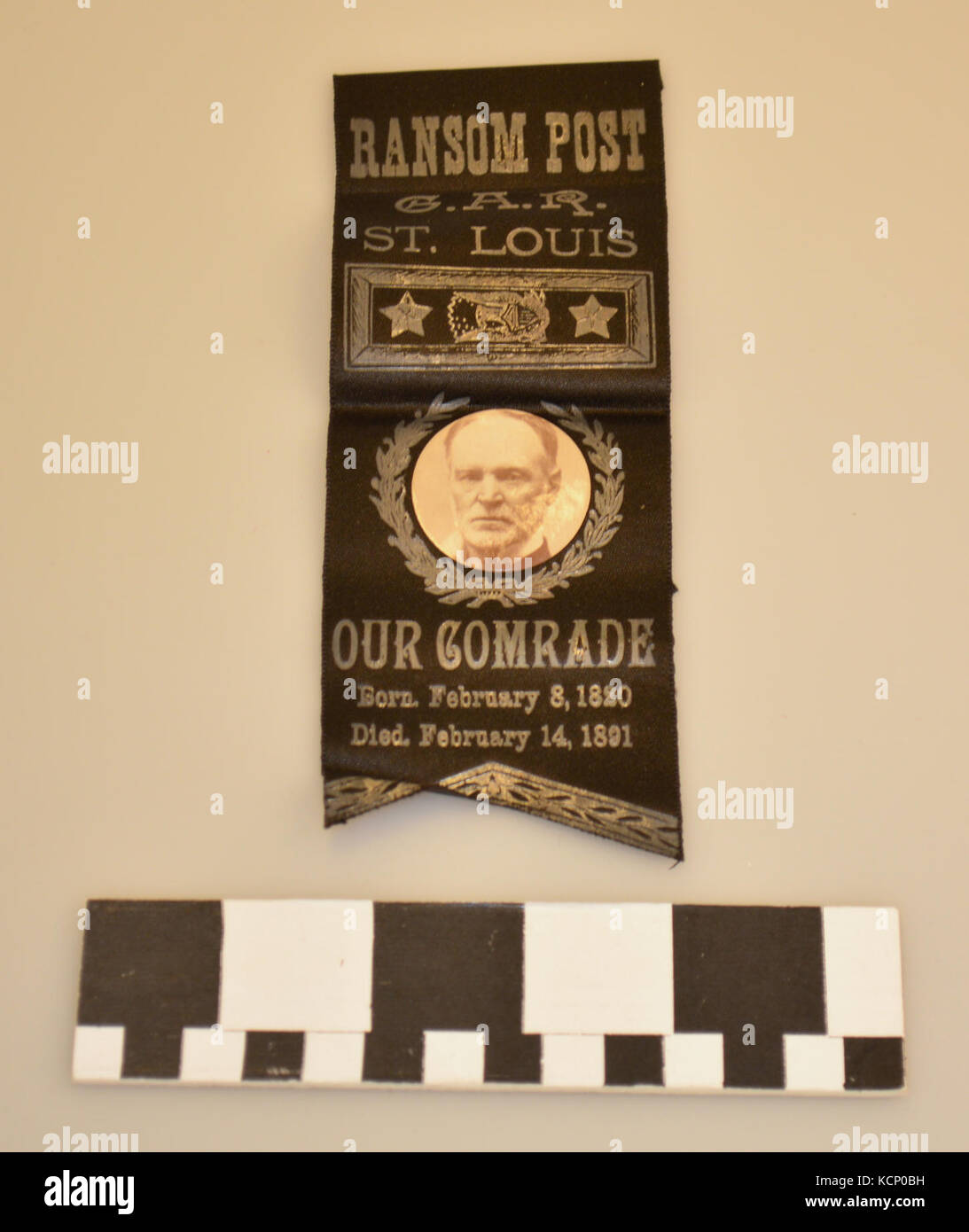 Black Grand Army of the Republic Ribbon Badge Memorializing William T. Sherman - Stock Image
