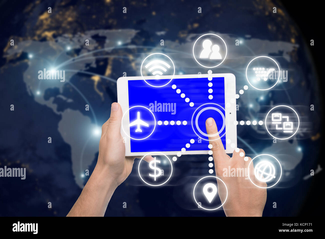 Hand holding digital tablet with smart technology icon and network connection and world map. Elements of this image - Stock Image