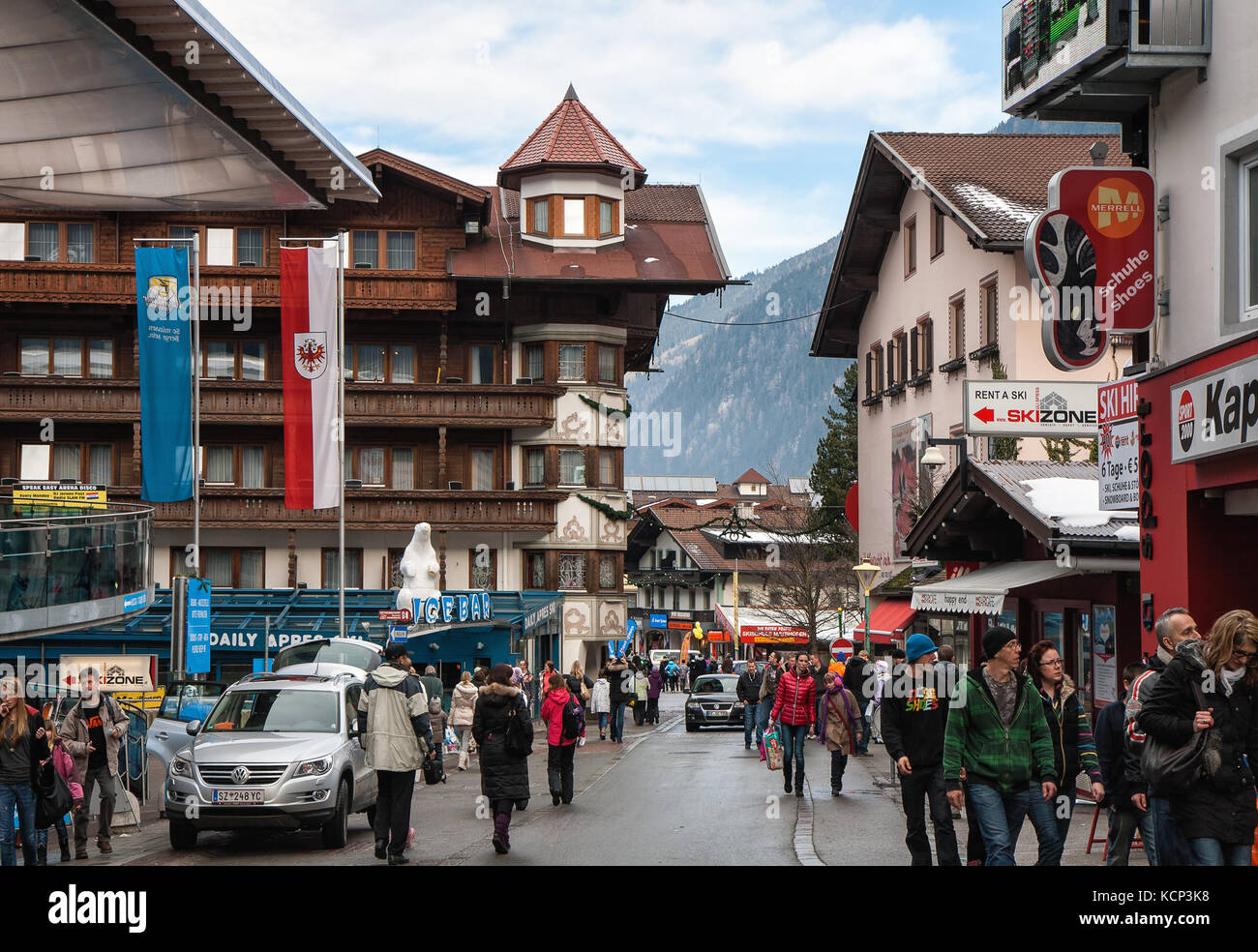 MAYRHOFEN, AUSTRIA - JANUARY 08, 2011 - Mayrhofen, the center of the ski resort during the Christmas holidays. A - Stock Image