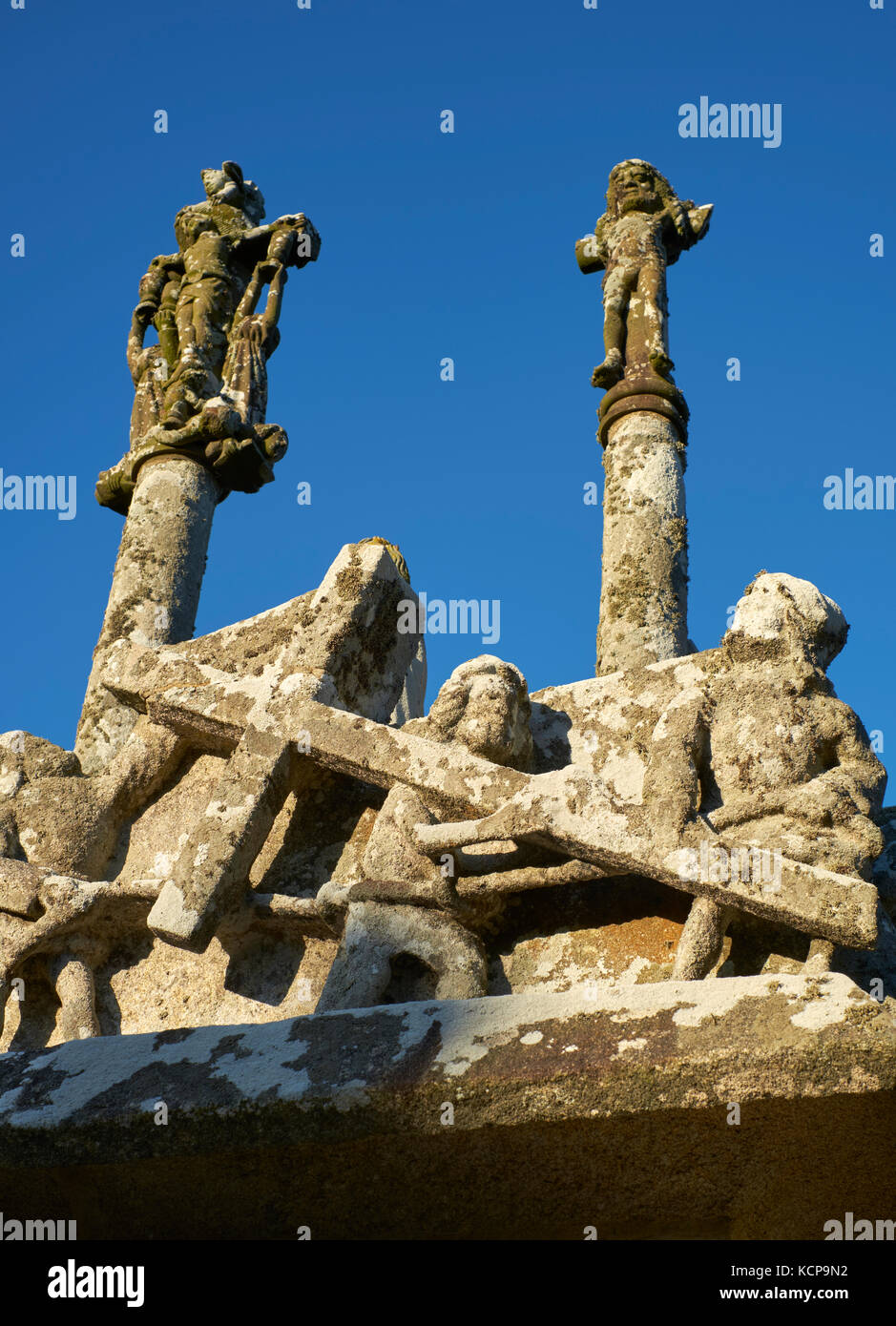 A detail of the circa 1450 Calvary of the Notre Dame de Tronoen Finistere Brittany France - Stock Image