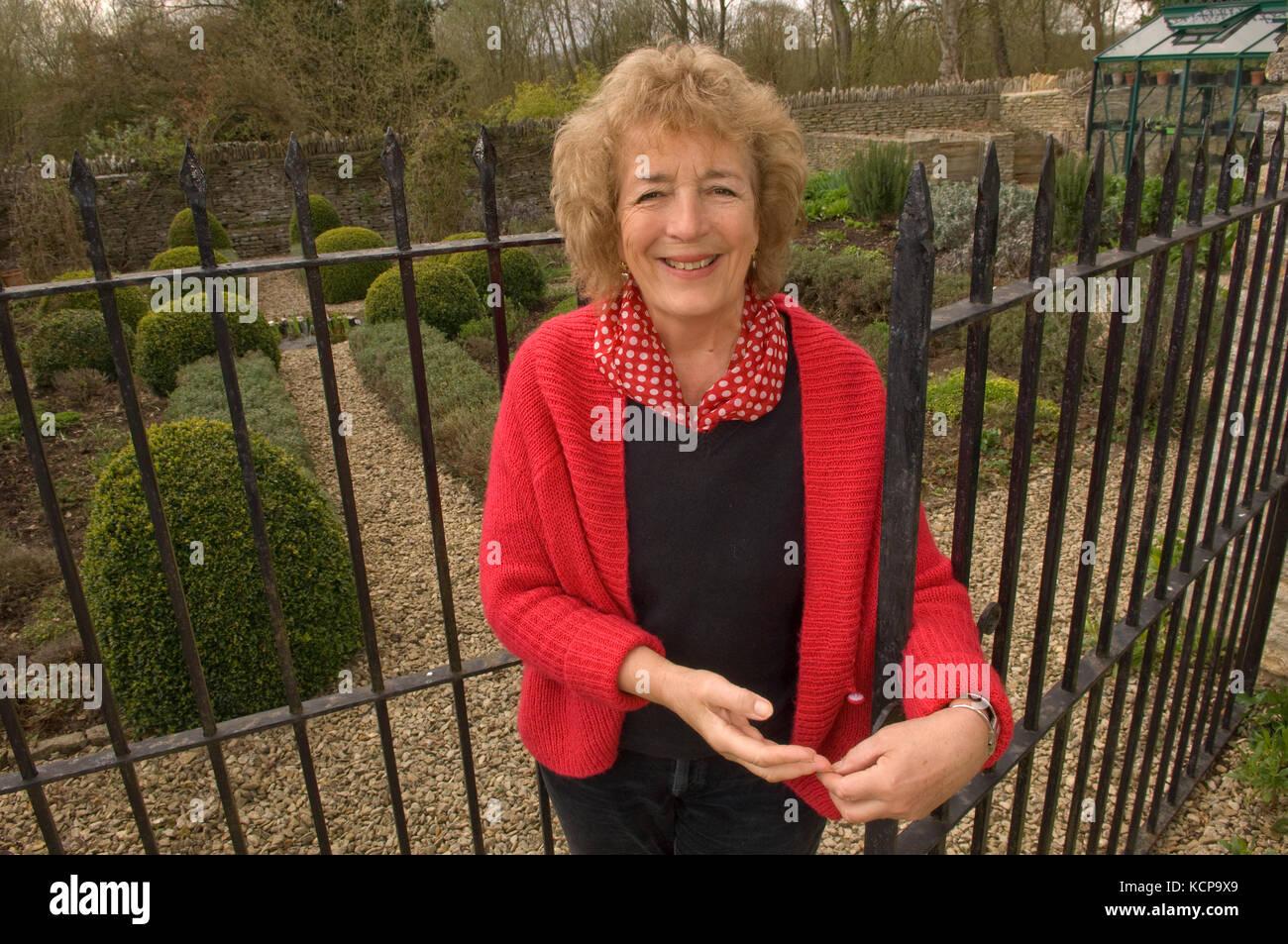 Gardener, author, broadcaster Judith Hann in her herb garden. Stock Photo