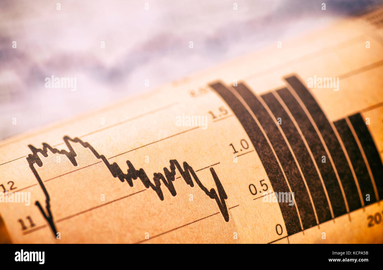 Charts show the price of shares - Stock Image