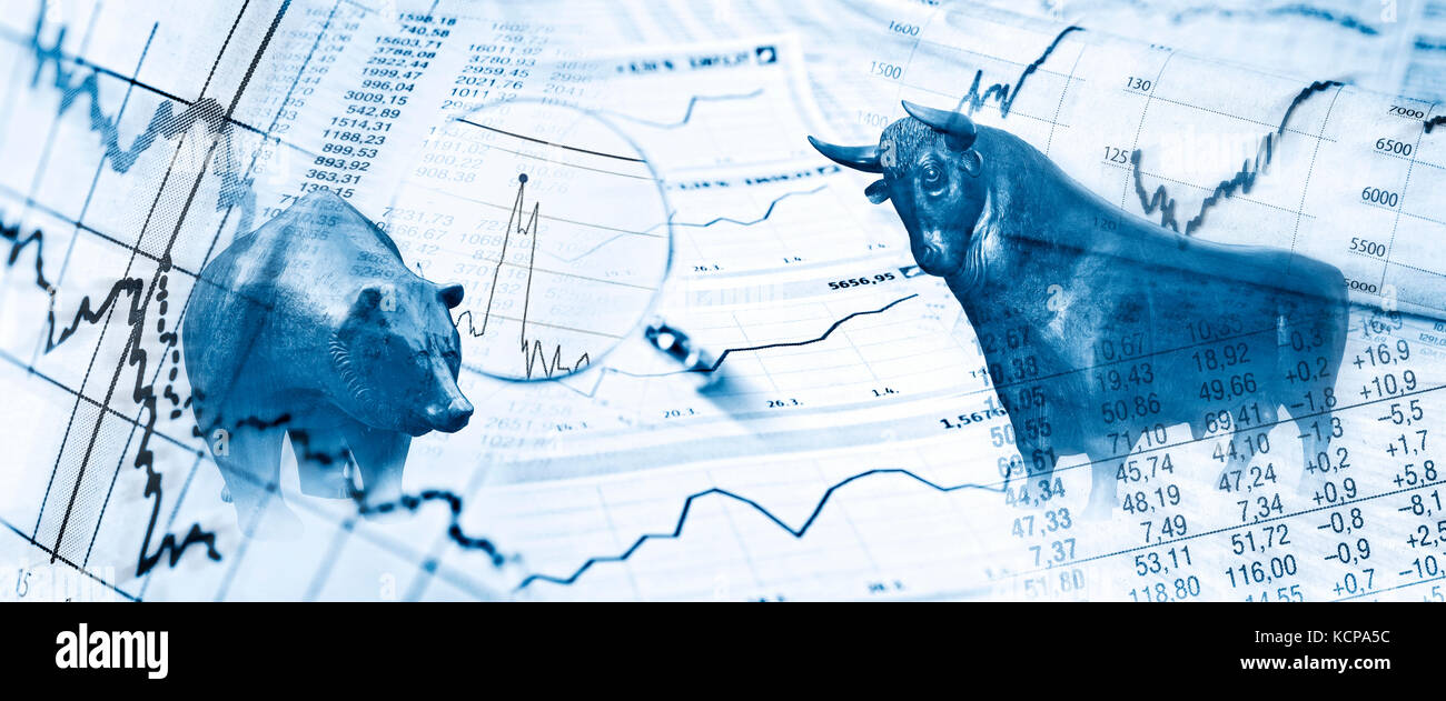 Bull, bear, charts and stock charts as symbols for the stock exchange - Stock Image