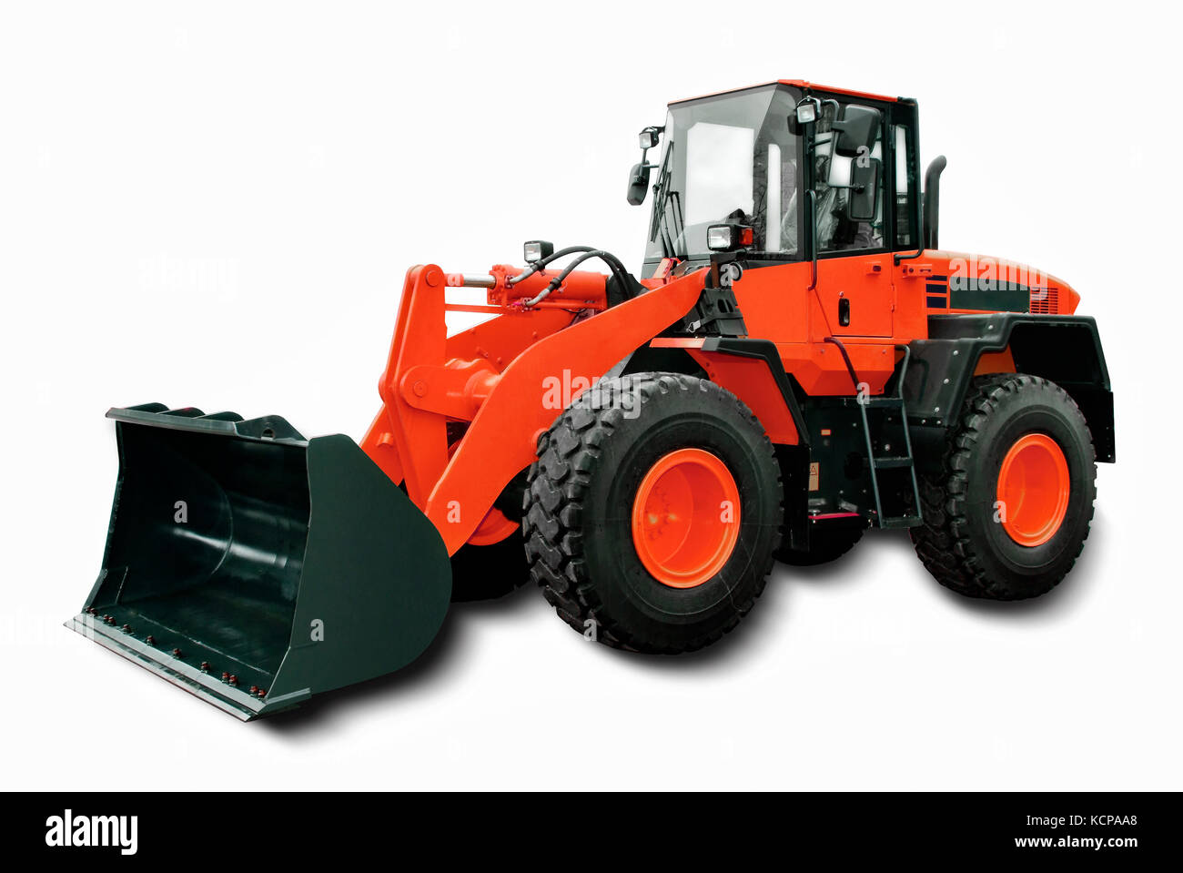 Red Wheel Loader isolated on white background. - Stock Image