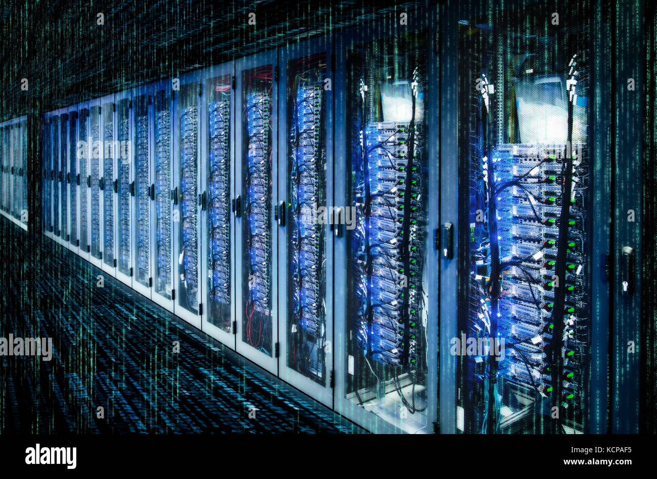 Network cabinets with server racks in a data center with matrix. - Stock Image