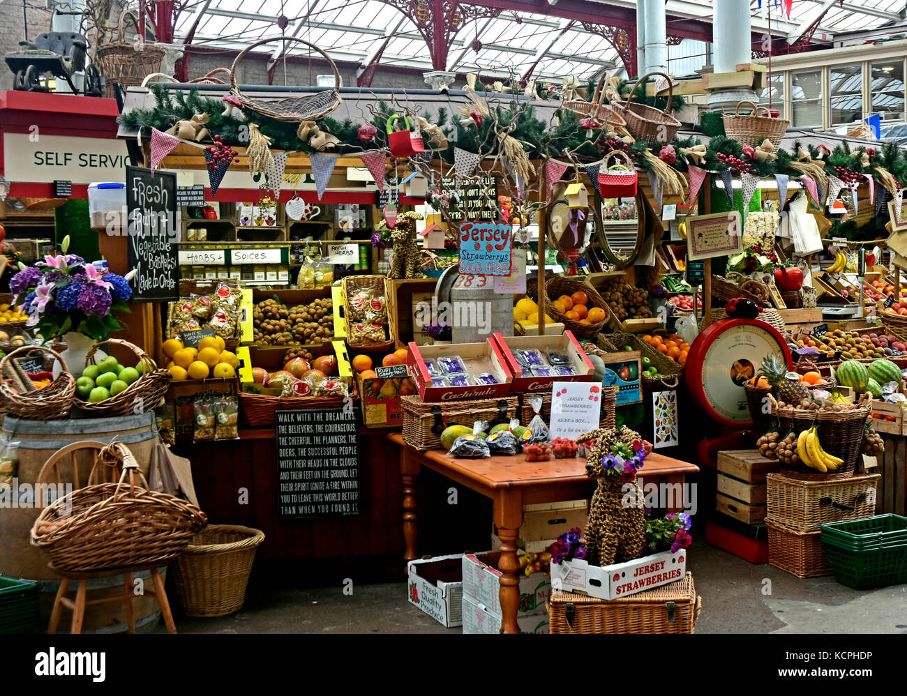 Central Market - St Helier - Channel Isles - covered market - circa 1882 - fruit vegetables flowers - local produce - Stock Image
