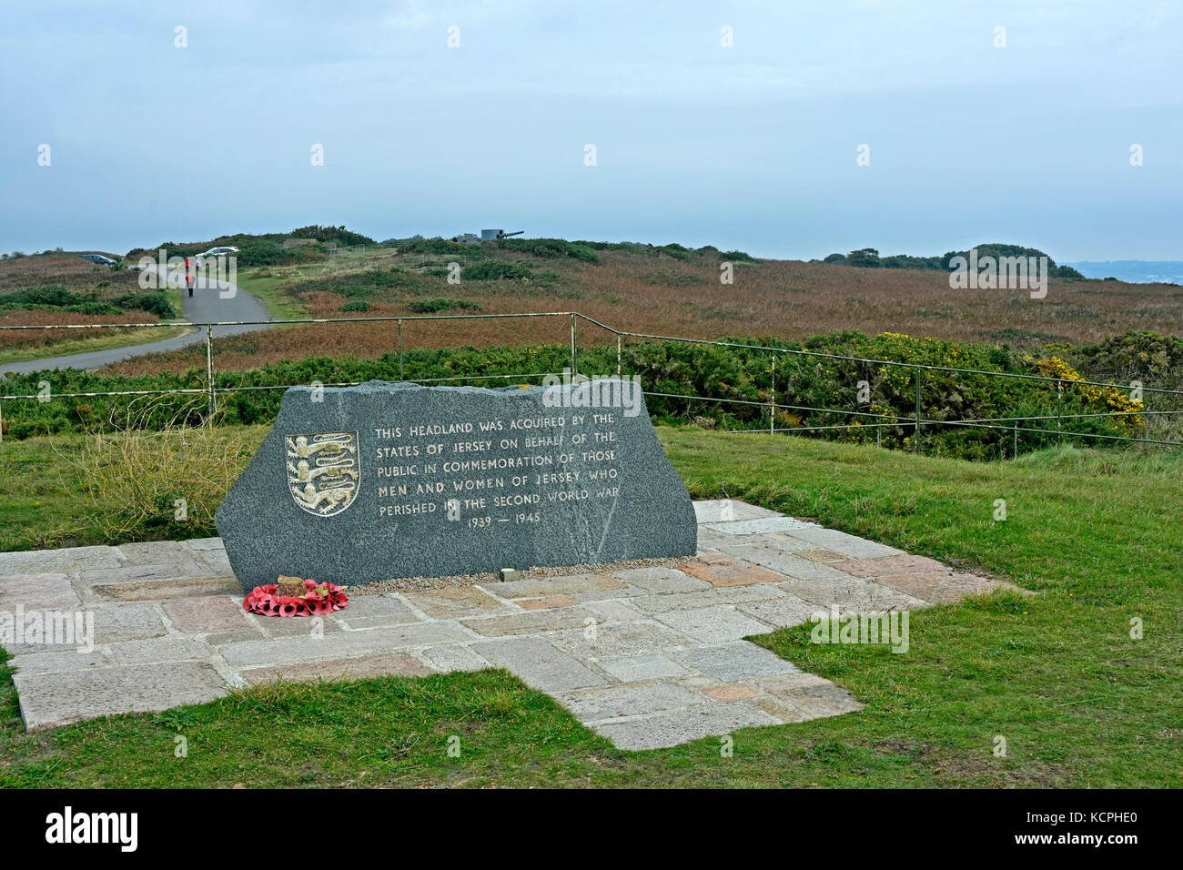 Jersey - Channel Isles - memorial stone - for those lost in WW11 - States of Jersey - view to the sea across headland Stock Photo
