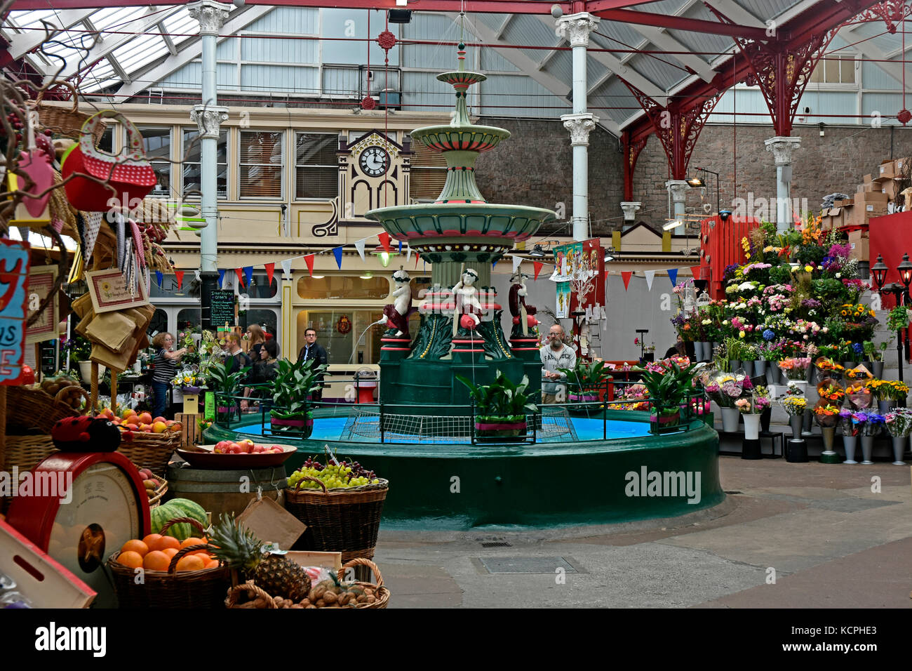 The Central Market - St Helier - Jersey - Channel Isles - circa 1882 - Victorian - covered market - fruit - vegetables - Stock Image