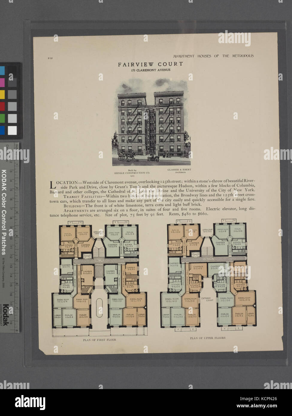 Fairview Court, 175 Claremont Avenue; Plan of first floor; Plan of upper floors (NYPL b12647274 465636) - Stock Image