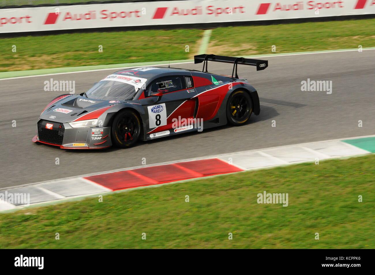 Mugello Circuit, Italy. 6th Oct, 2017. AUDI R8 LMS AUDI SPORT Italia Team driven by GHIRELLI Vittorio - TRELUYER Stock Photo