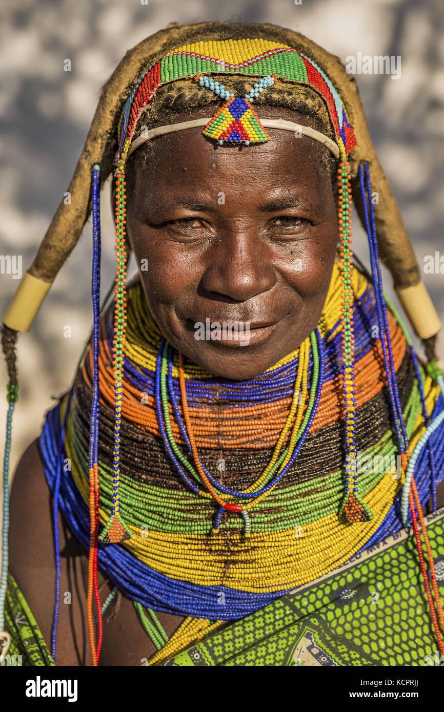 Angola. 19th July, 2016. Mwila woman (or Mwela, Mumuhuila, or Muhuila, Mumuila) .Mwila are a blend of semi-nomadic - Stock Image
