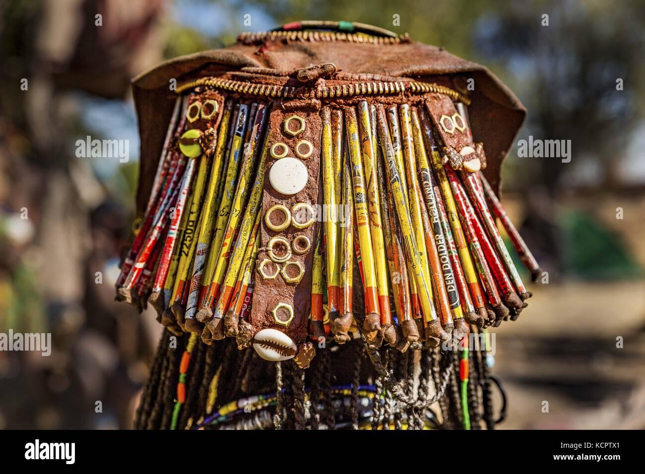 Angola. 23rd July, 2016. July 23, 2016 - Angola - Elaborate headdress of a Mucawana girl (also called Hacaona, Muhacaona). - Stock Image