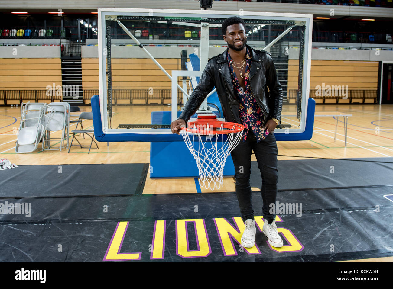London, UK. 06th Oct, 2017. Broderick Hunter attends the BBL London Lions vs Manchester Giants basketball today Stock Photo
