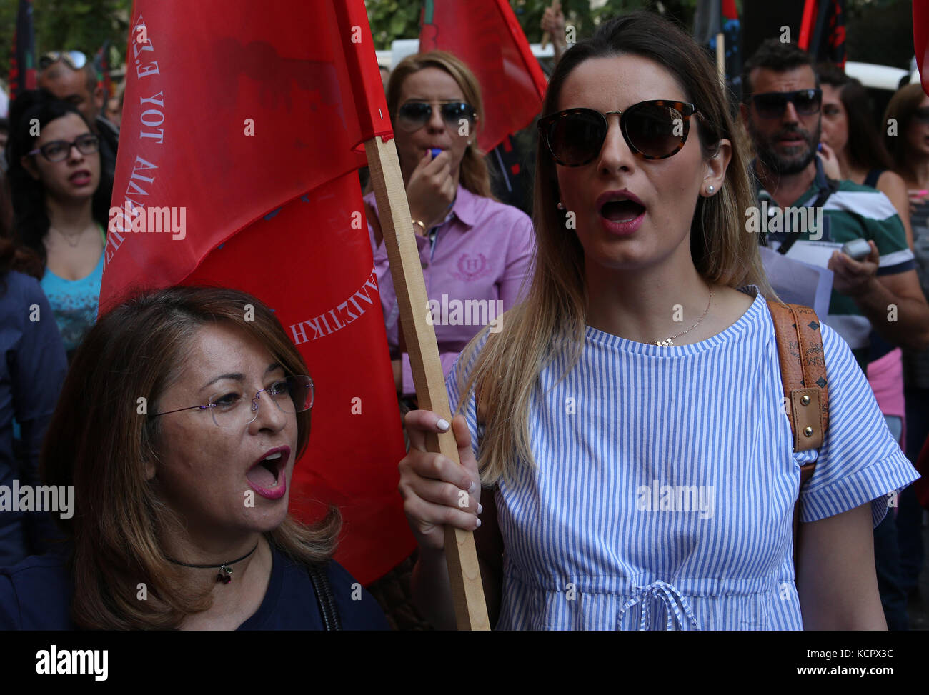 (171006) -- ATHENS, Oct. 6 (Xinhua) -- Greek state hospital nurses participate during a 24-hour strike and demonstration - Stock Image