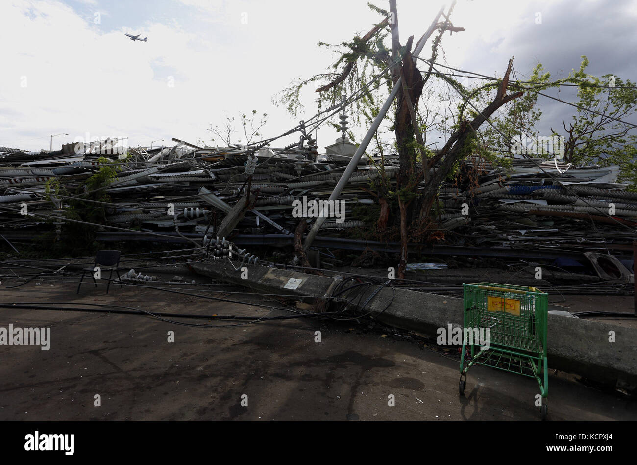 San Juan, Puerto Rico. 7tn Oct, 2017. View of a damages caused by Hurricane Maria, at the neighborhood Obrero of - Stock Image