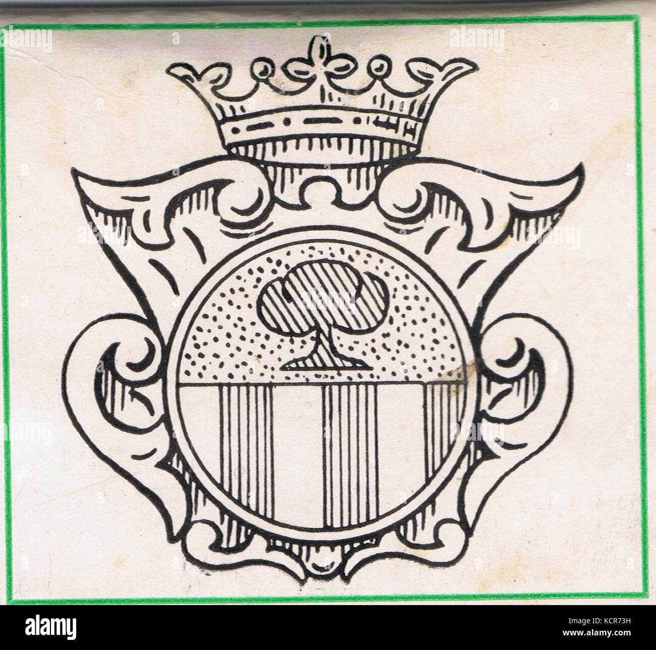 De Salis shield motif used as the cover of a flat matchstick pack. c. 1972 adaption of c. 1734 design - Stock Image