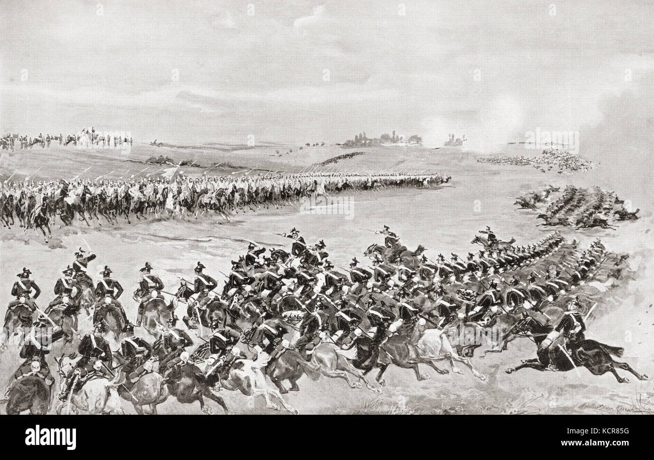 Prussian and Austrian cavalry at The Battle of Königgrätz, also known as the Battle of Sadowa, Sadová, - Stock Image
