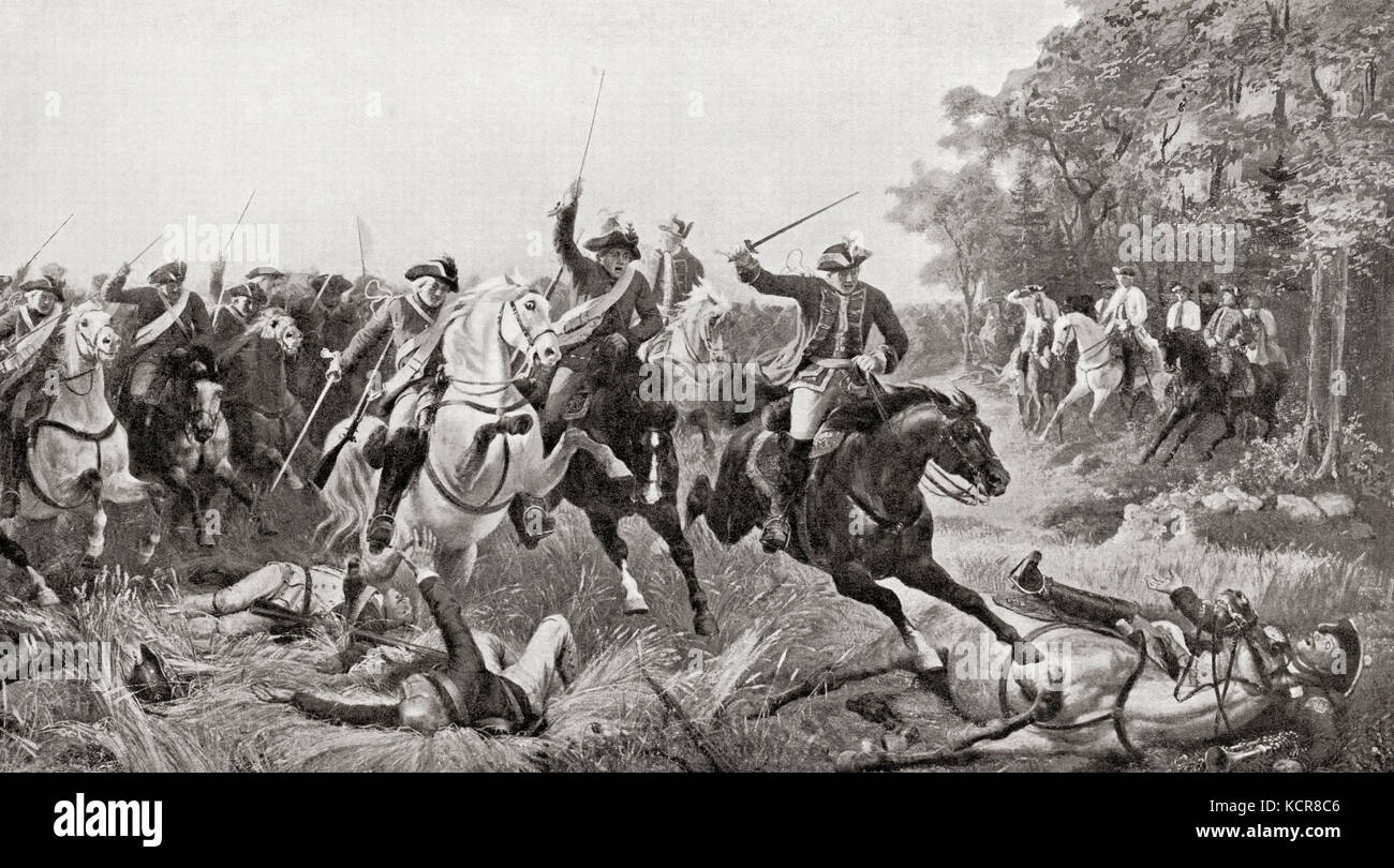 The Battle of Kolín, Bohemia,18 June 1757  during the Third Silesian War (Seven Years' War). From Hutchinson's - Stock Image