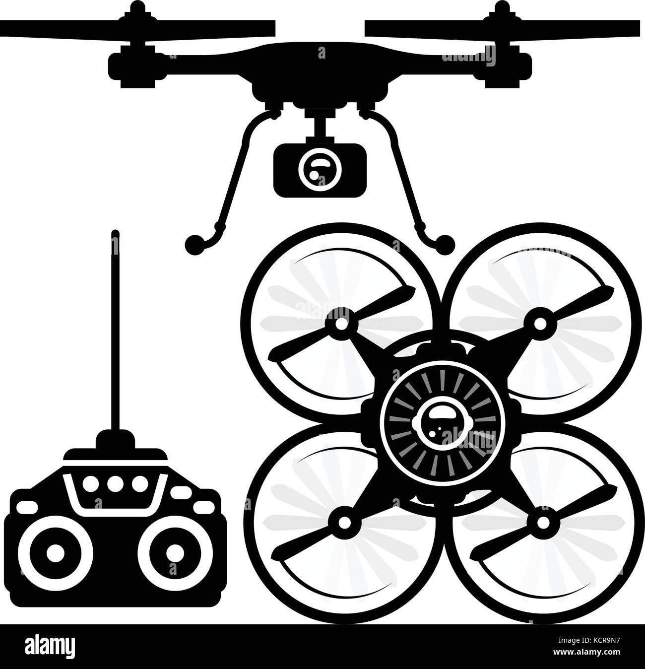 Silhouette of quadcopter and remote control (joystick) - Stock Vector