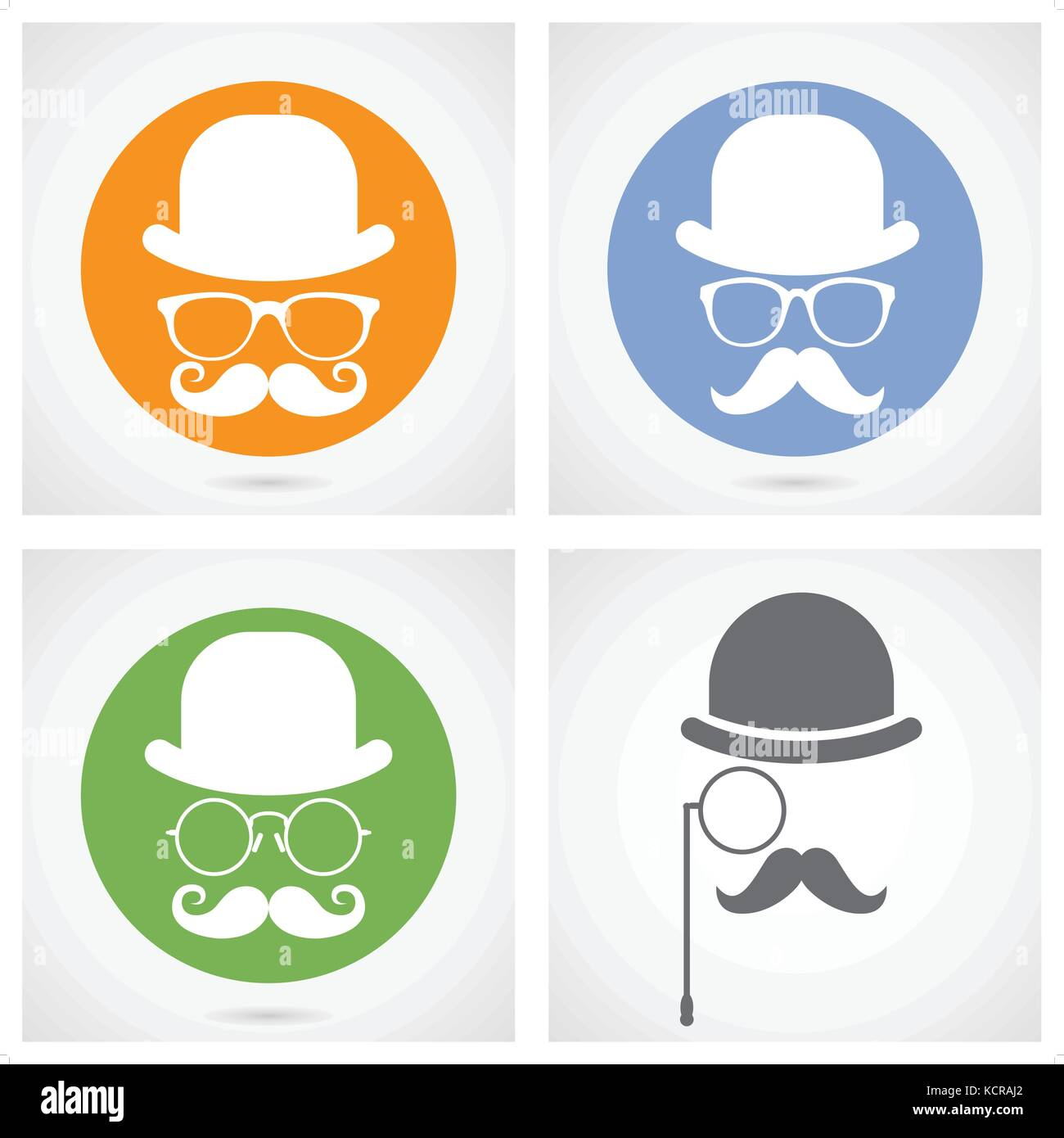 Silhouette of gentleman's face with moustaches, bowler and glasses - capitalist or hipster - Stock Image