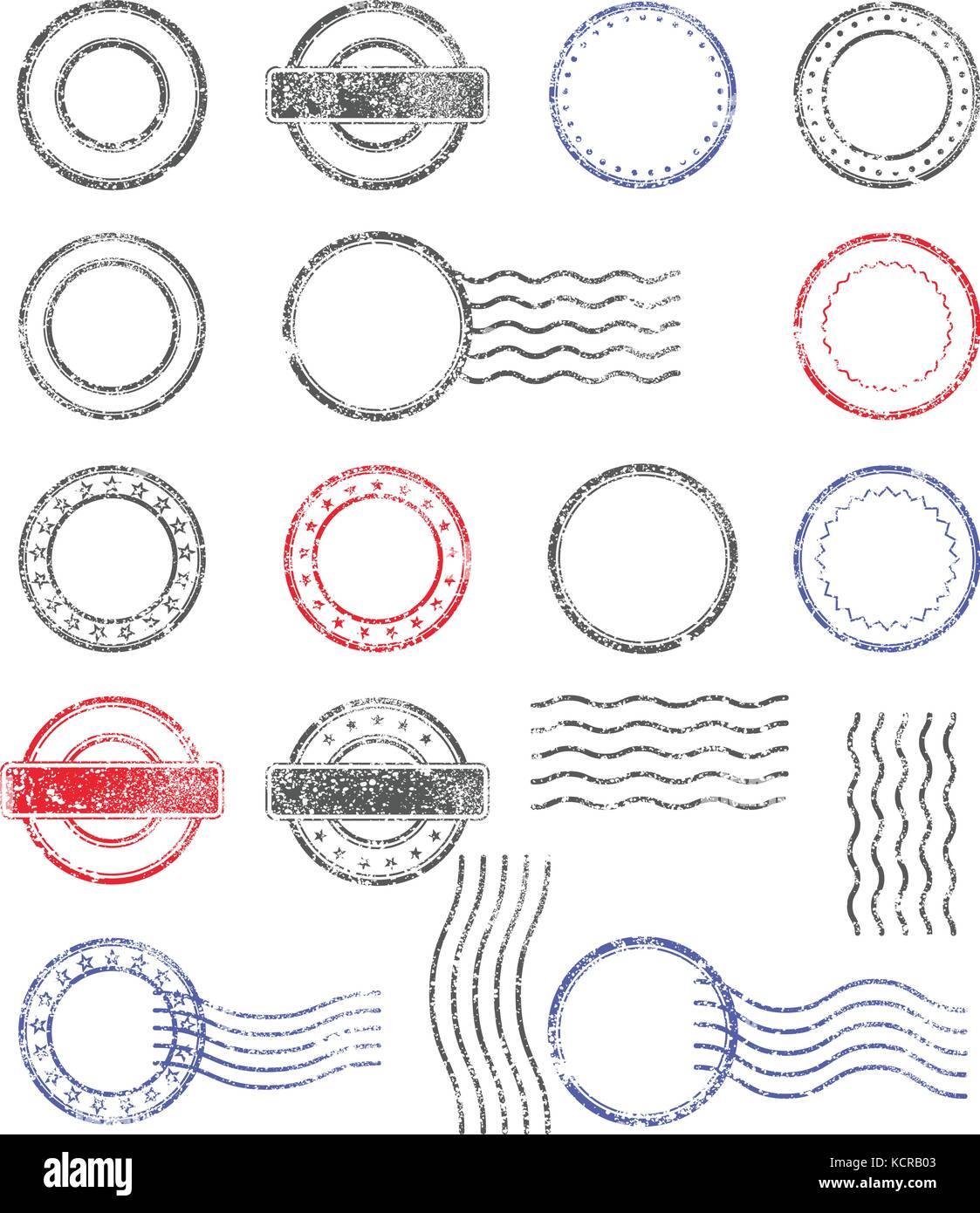 Blank templates of shabby postal stamps of round shape - Stock Vector