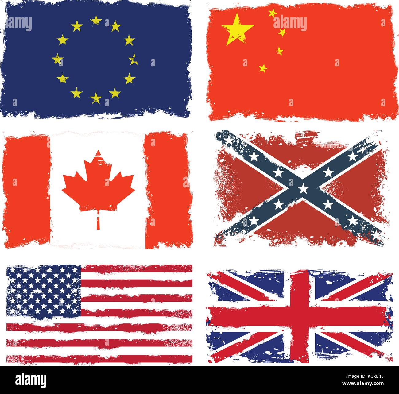 Set of shabby flags of Canada, China, Confederate army, European union,  Great britain and USA Stock Vector