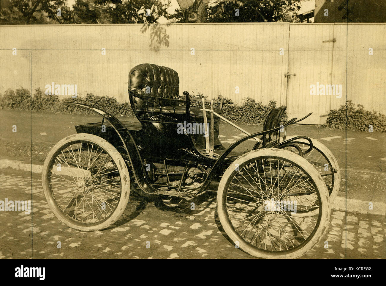 First automobile built by the St. Louis Motor Carriage Company. The ...