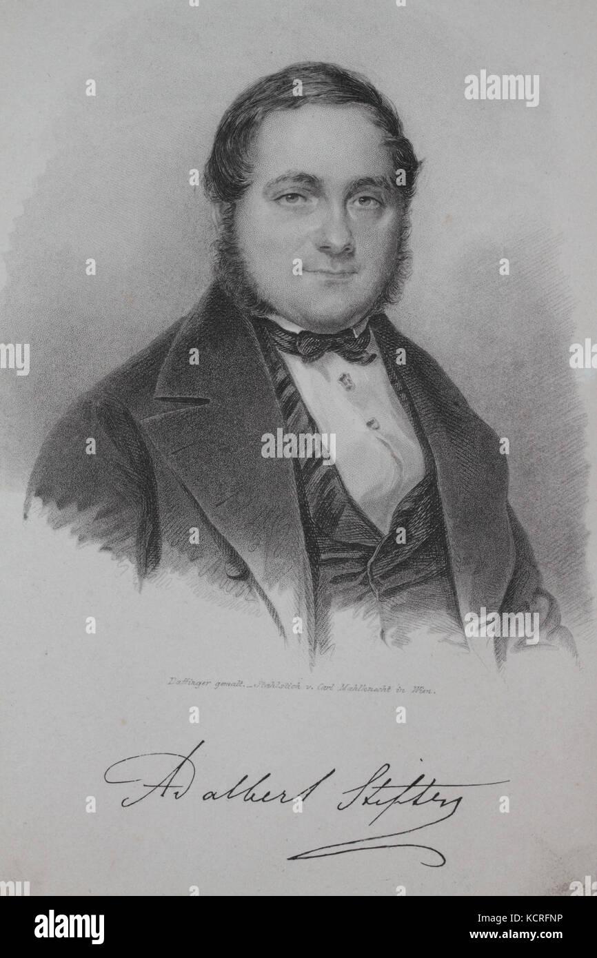 Adalbert Stifter, Stahlstich - Stock Image