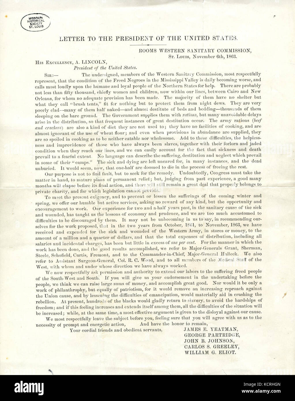 Circular letter of the western sanitary commission st louis to circular letter of the western sanitary commission st louis to president abraham lincoln november 6 1863 thecheapjerseys Image collections