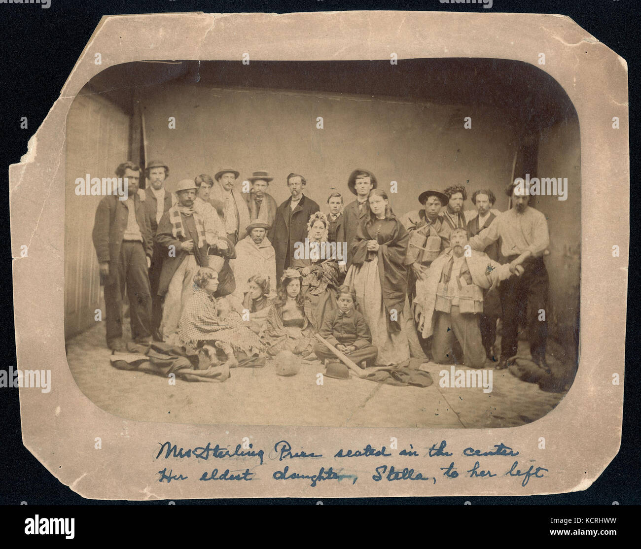 Family of General Sterling Price after being rescued from shipwreck. Mrs. Price seated in center, daughter Stella - Stock Image