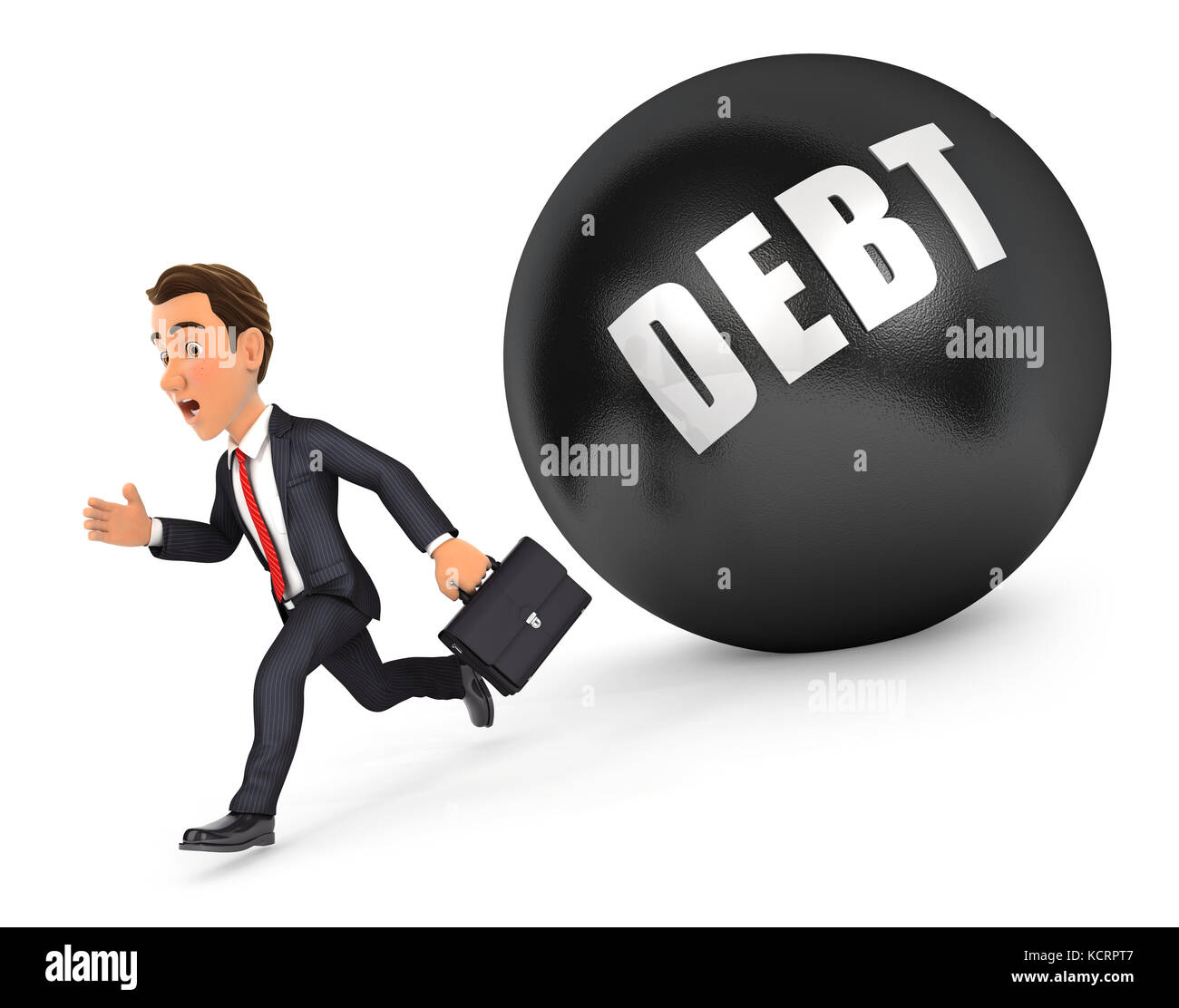 3d businessman running in front of debt, illustration with isolated white background - Stock Image