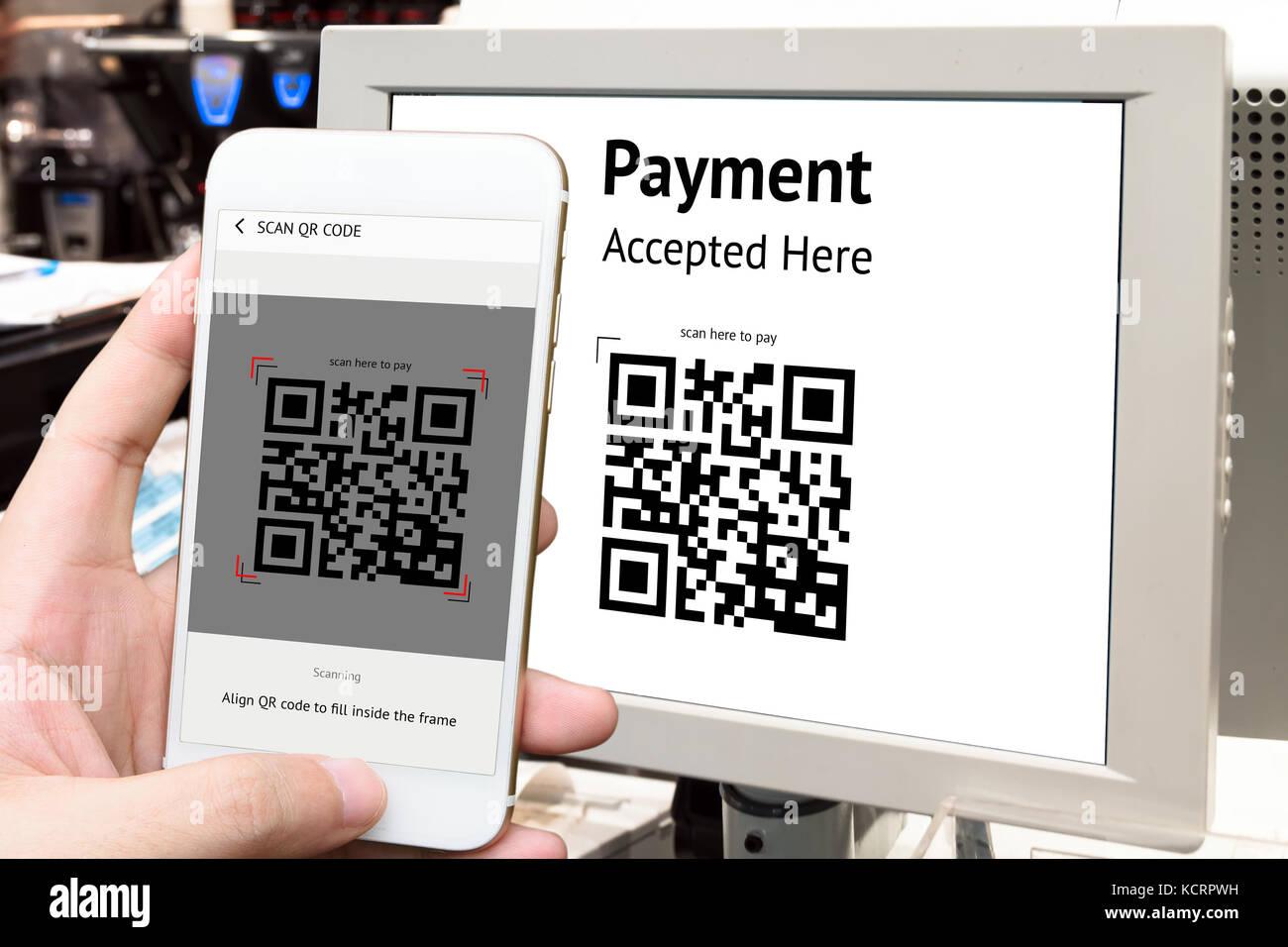 Qr code payment , online shopping , cashless technology