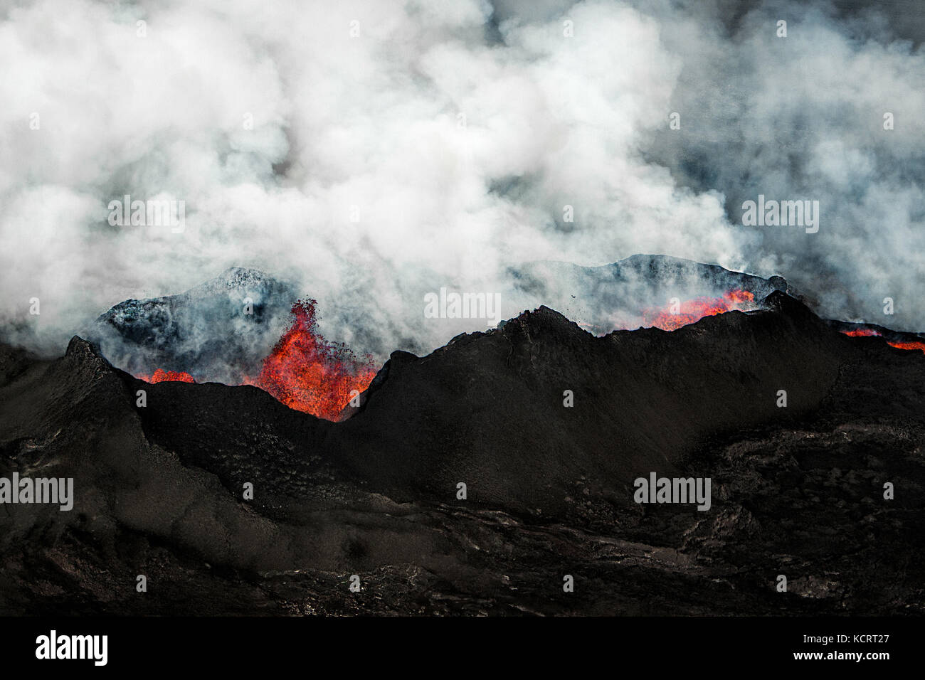Holuhraun fissure eruption near Bardabunga volcano spewing lava in Iceland - Stock Image