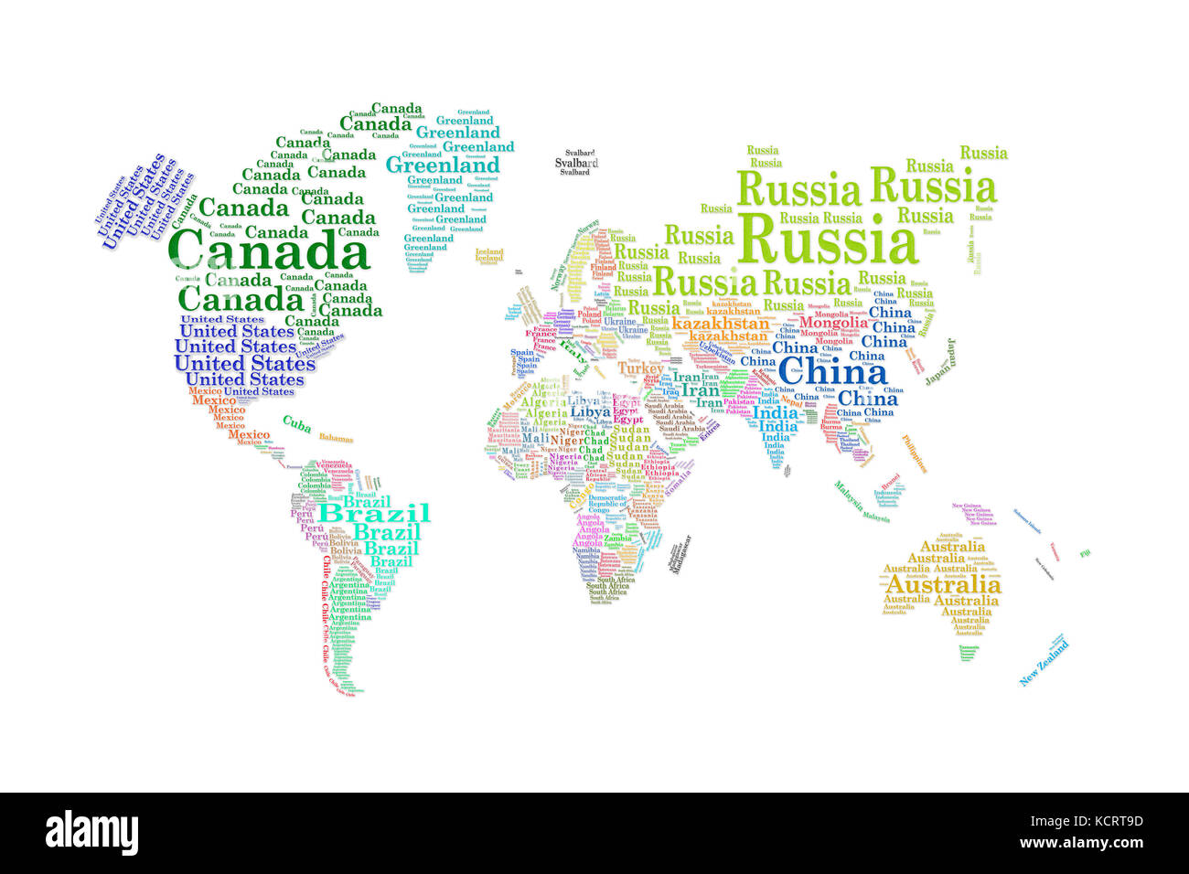 Word cloud. Countries. - Stock Image