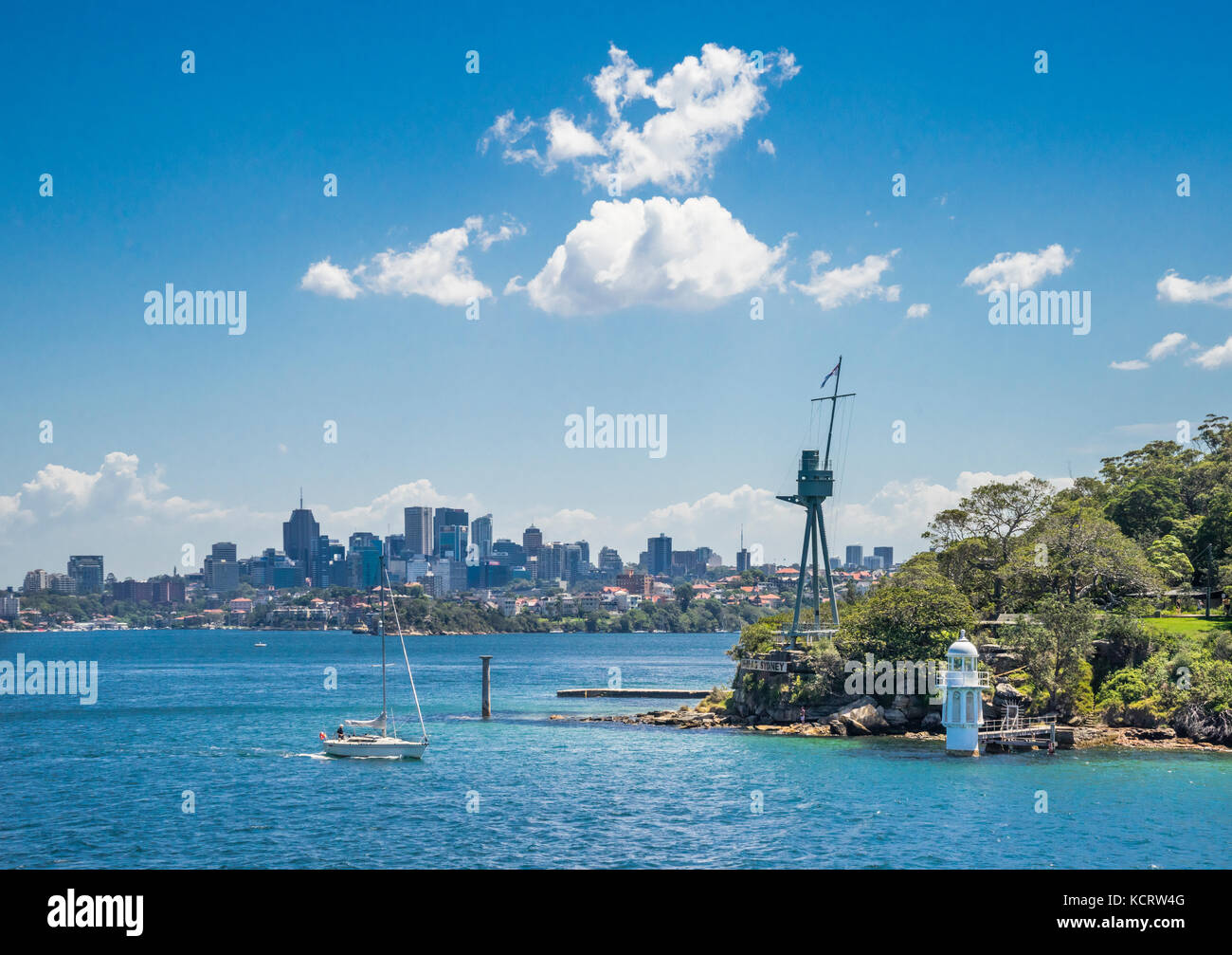 Australia, New South Wales, Sydney Harbour, Port Jackson, view of the Sydney skyline from Bradleys Head with HMS - Stock Image