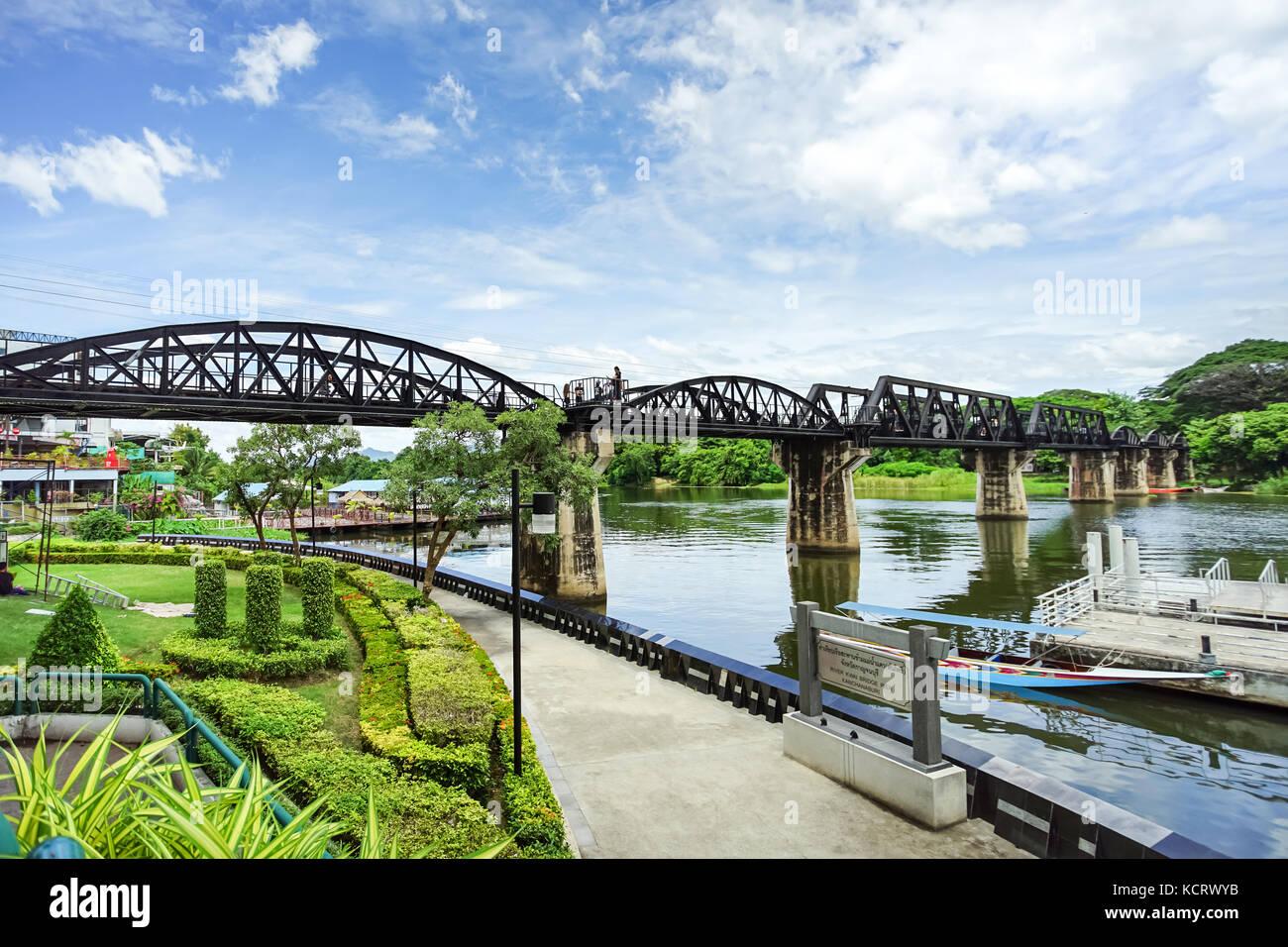 The Bridge of the River Kwai in Kanchanaburi, Thailand - Stock Image