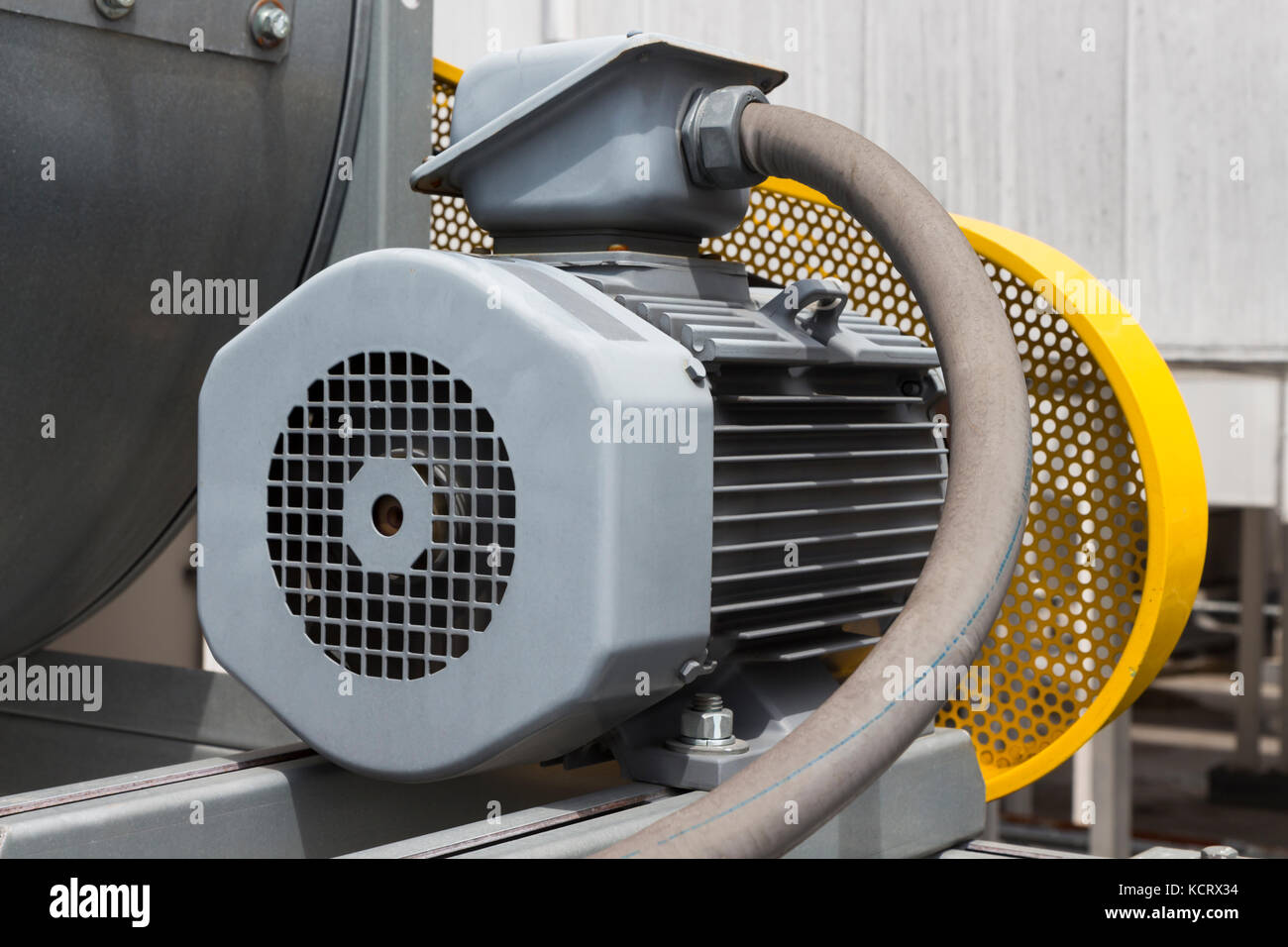 Motor Of Air Blower With Yellow Safety Guard Stock Photo Alamy