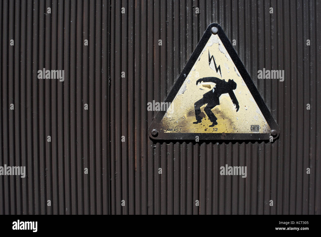 sign of danger of death by electric shock. Electricity, - Stock Image