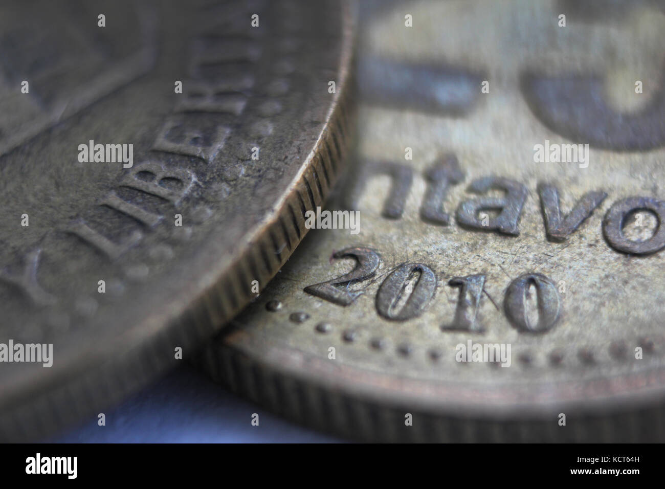 Close-up of coins from Argentina - Stock Image