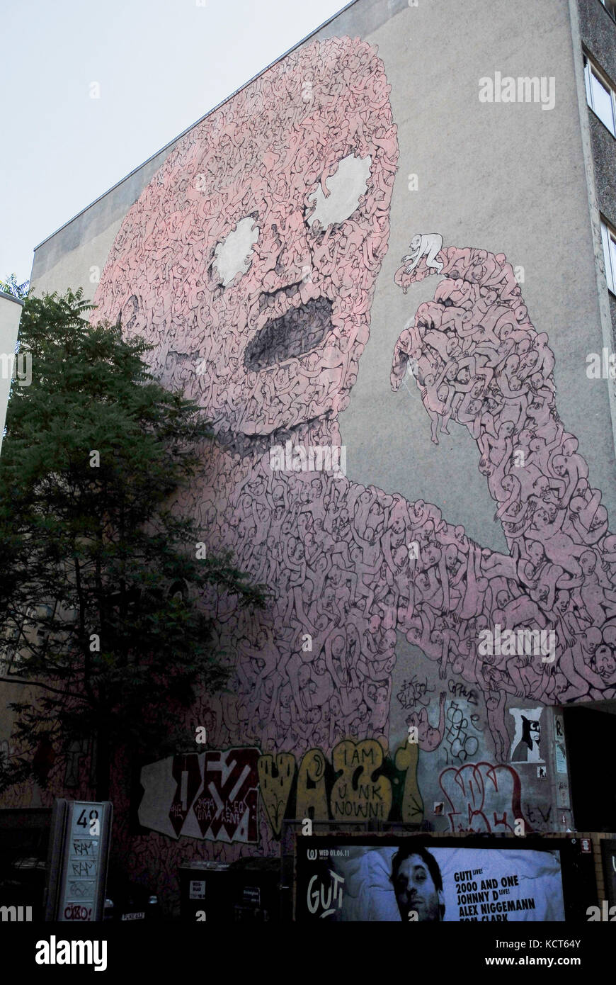 BERLIN-MAY 31: a graffiti called Leviathan by the artist Blu in the neighborhood of Kreuzberg,on May 31,2011. - Stock Image