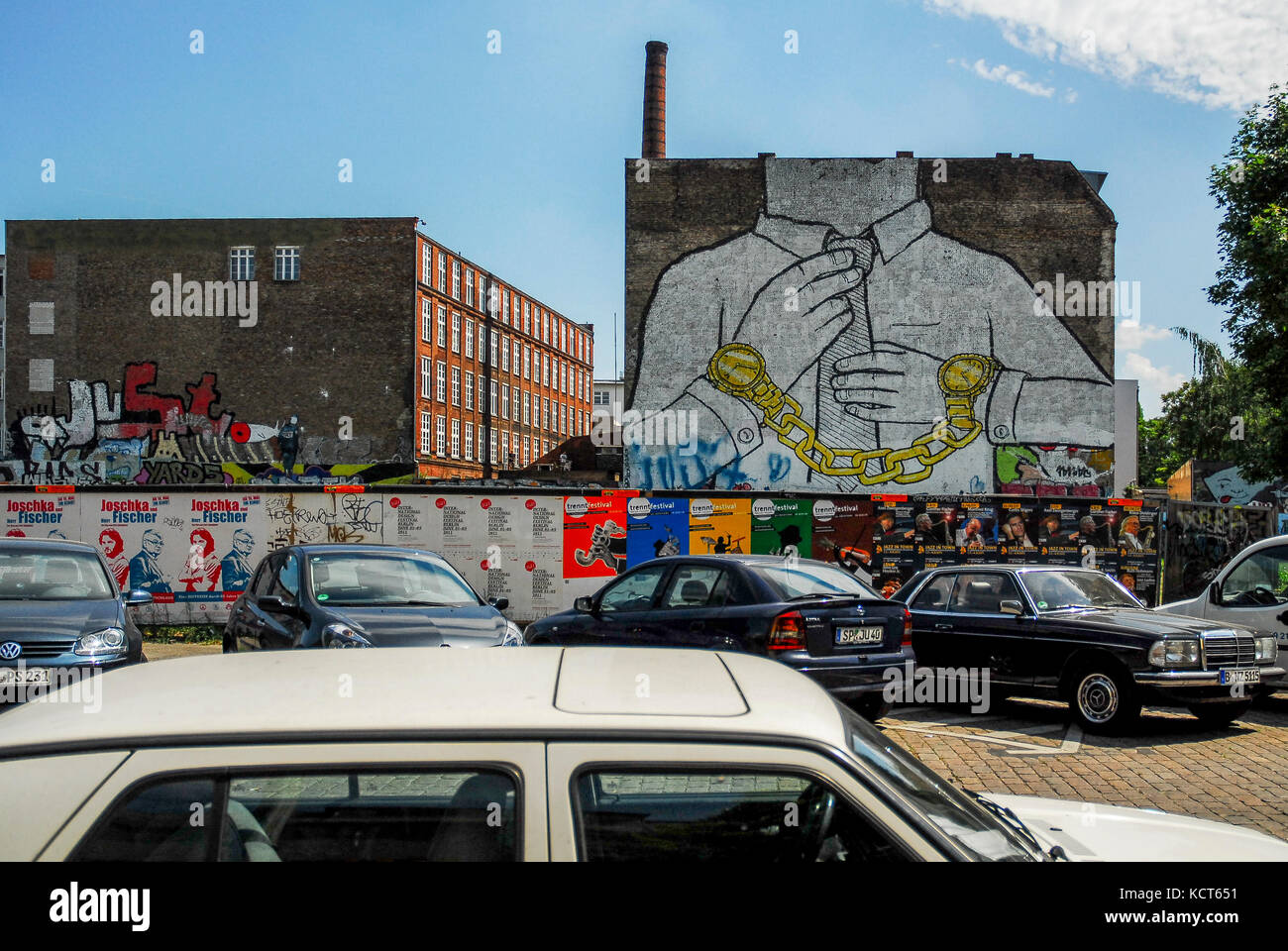 BERLIN-MAY 31: famous graffiti called Chain by artist Blu in the Friedrichshain-Kreuzberg district,on May 31,2011. - Stock Image