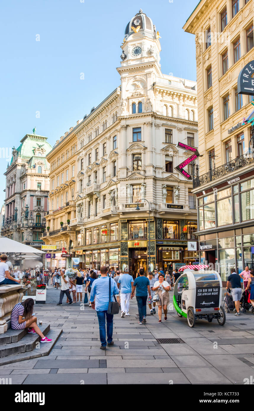 VIENNA, AUSTRIA - AUGUST 30: People in the pedestrian area of the historic city center of  Vienna, Austria on August - Stock Image