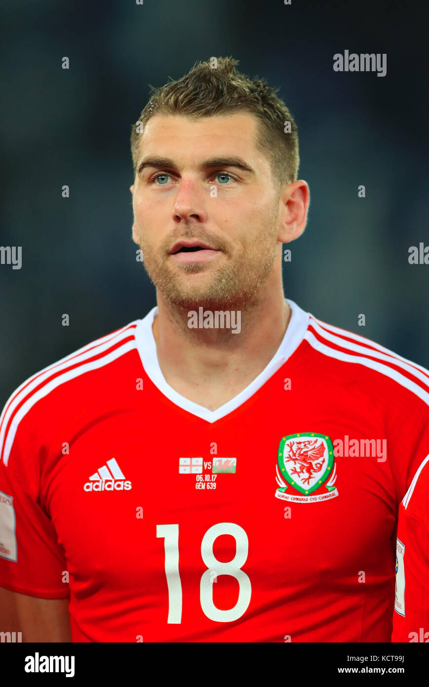 Wales' Sam Vokes during the 2018 FIFA World Cup Qualifying, Group D match at the Boris Paichadze Dinamo Arena, Tbilisi. Stock Photo