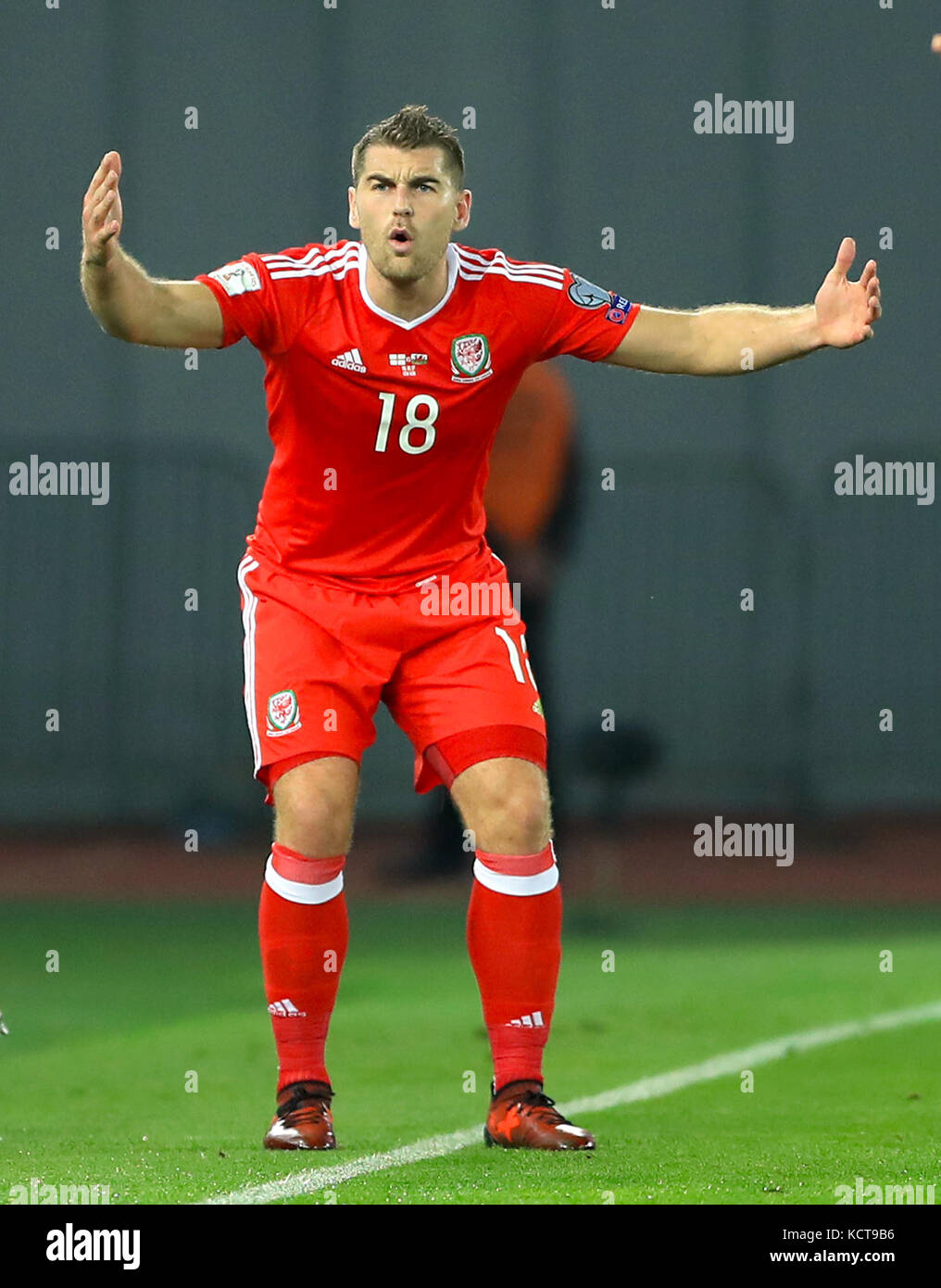 Wales Sam Vokes During The 2018 Fifa World Cup Qualifying Group D Match At Boris Paichadze Dinamo Arena Tbilisi Press Association Photo