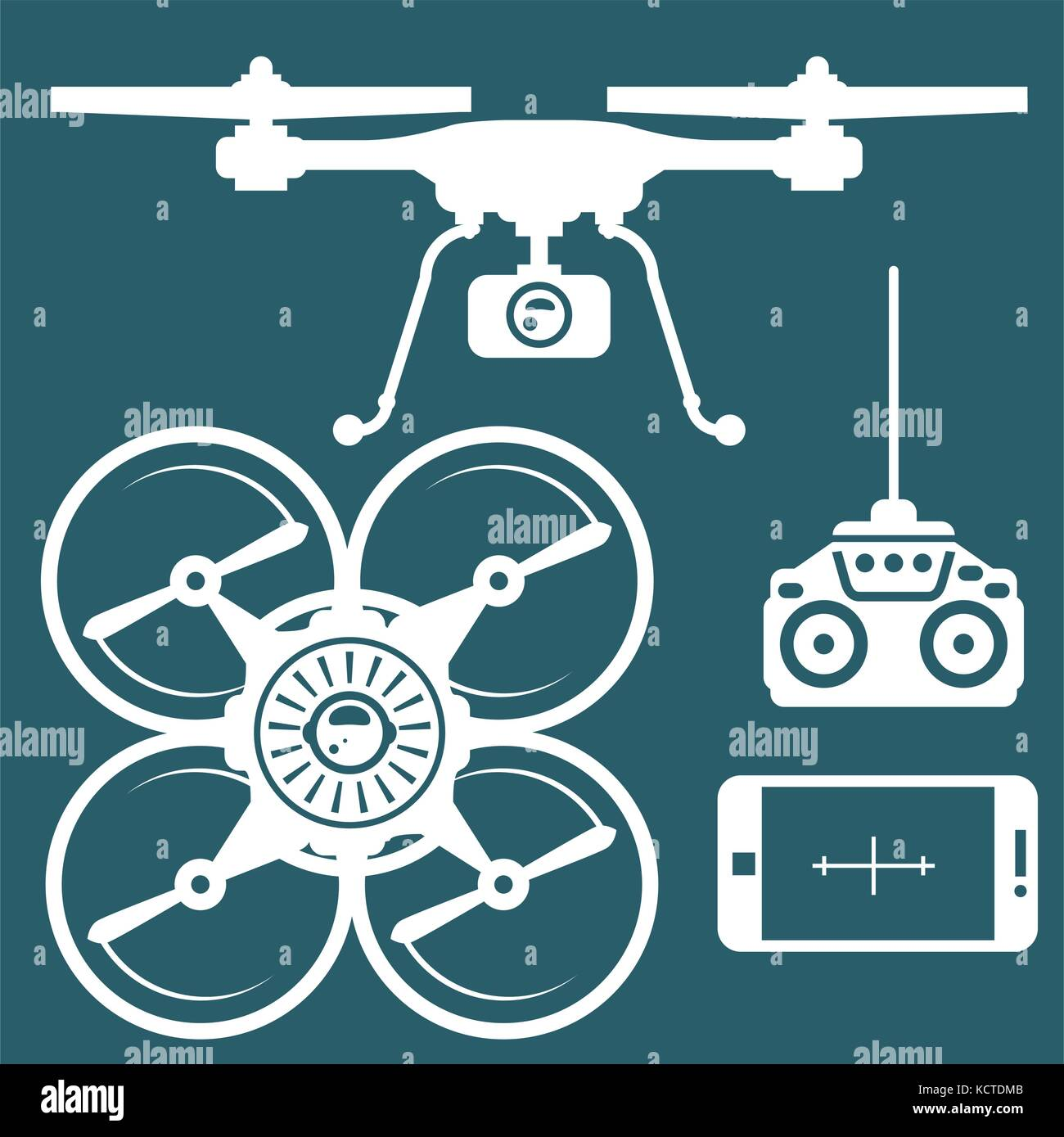 Silhouette of quadcopter and remote contro and smartphone - Stock Vector