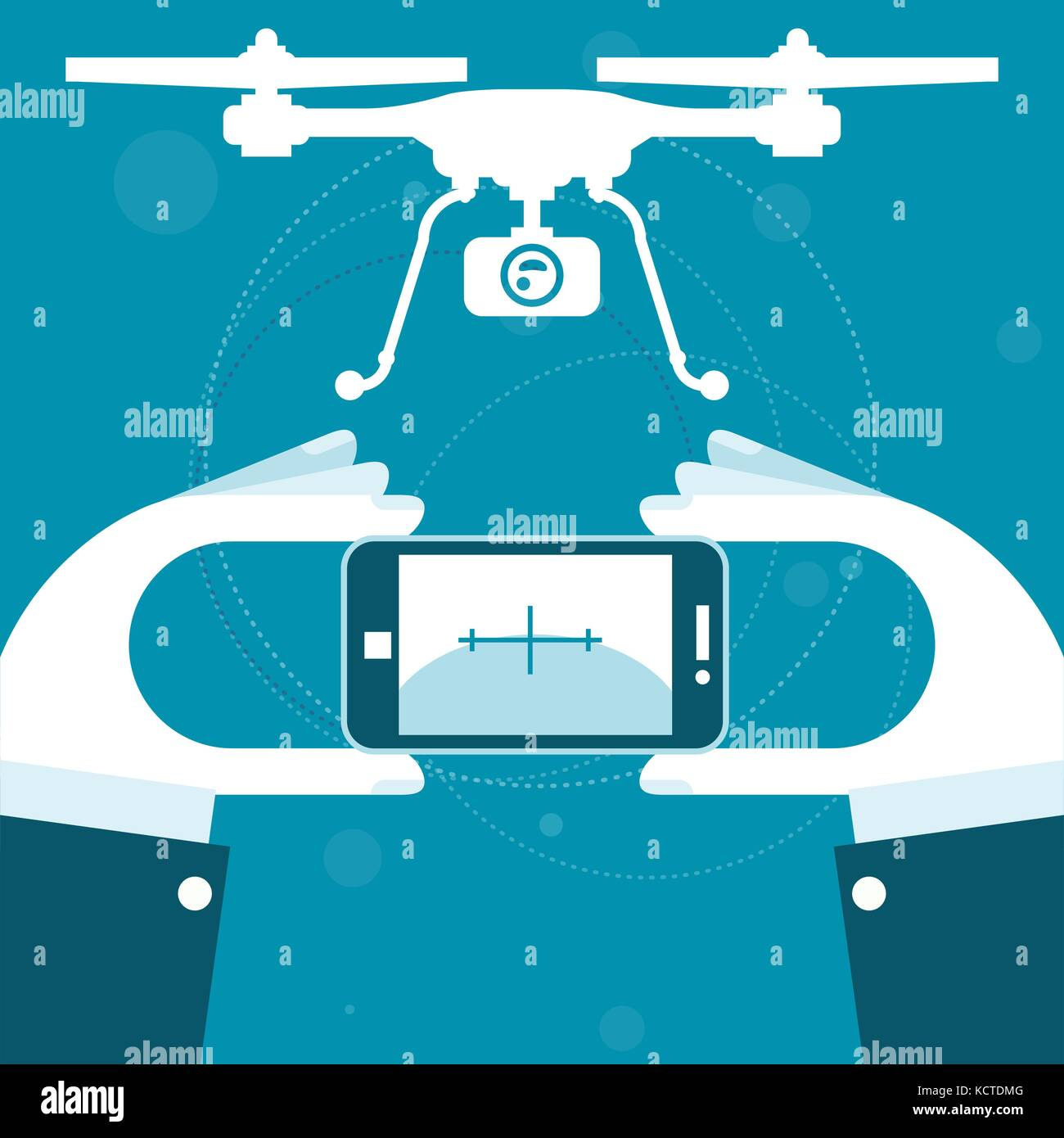 Quadrocopter remote control from smartphone - Stock Vector